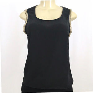 Poetry Black Gold Trim Blouse Small